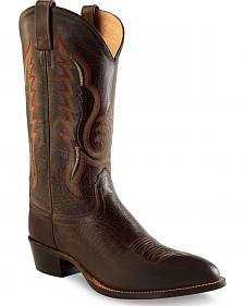 Old West Men's Dark Brown Western Boots - Round Toe