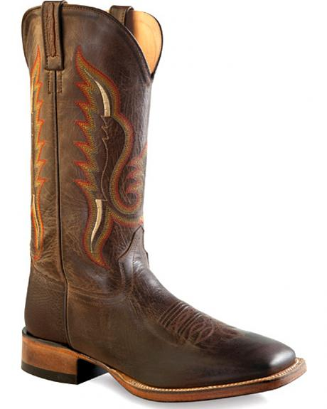 Old West Men's Distressed Brown Cowboy Boots - Square Toe