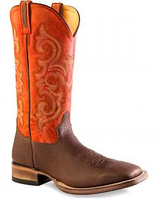 Old West Men's Orange and Brown Western Boots - Square Toe
