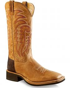 Old West Men's Tan Cowboy Boots - Square Toe