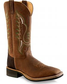 Old West Men's Brown Cowboy Boots - Square Toe