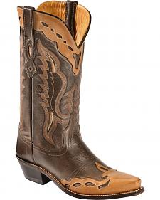 Old West Men's Brown Fashion Overlay Western Boots - Snip Toe