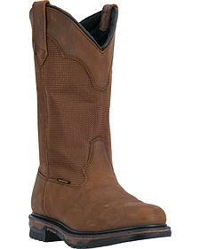 Laredo Men's Mallet Waterproof Pull-On Work Boots - Soft Round Toe