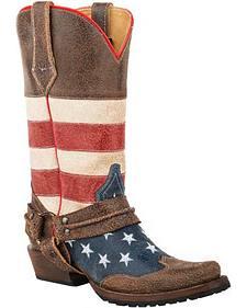 Roper American Biker Cowboy Boots - Square Toe
