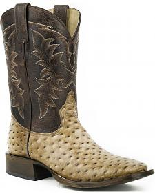 Roper Honey Brown Ostrich Print Cowboy Boots - Square Toe