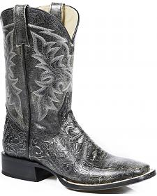 Roper  Faux Tooled Cowboy Boots - Square Toe