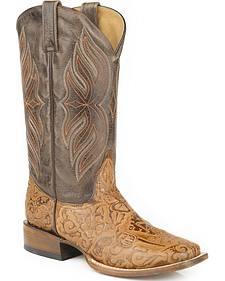 Roper Tooled Pistol Cowboy Boots - Square Toe