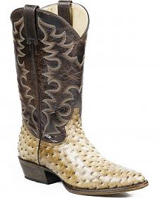 Roper Honey Brown Ostrich Print Cowboy Boots - Round Toe