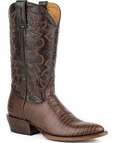Roper Faux Teju Lizard Print Cowboy Boots - Medium Toe