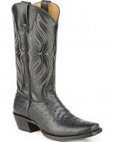 Roper Faux Full-Quill Ostrich Print Cowboy Boots - Square Toe