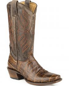 Roper Faux Croc Belly Print Cowboy Boots - Square Toe