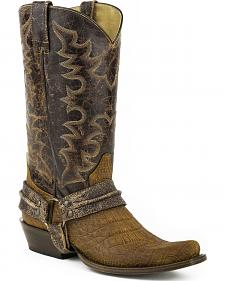Roper Alligator Belly Print Bandit Harness Cowboy Boots - Square Toe