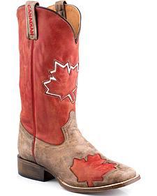 Roper Canadian Flag Cowboy Boots - Square Toe