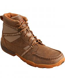 Twisted X Men's Bomber Brown Lace-Up Driving Shoes - Moc Toe