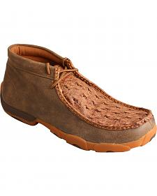 Twisted X Men's Bomber Brown Full Quill Ostrich Driving Mocs