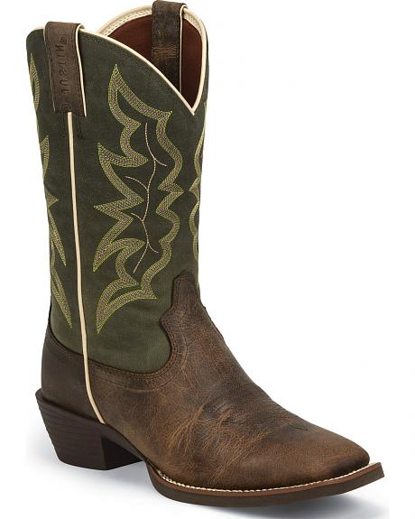Justin Men's Waxy Brown Western Boots - Square Toe