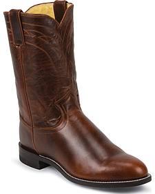 Justin Dark Brown Roper Cowboy Boots - Round Toe