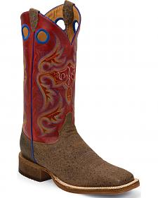 Justin Bent Rail Brown Distressed Ostrich Print Cowboy Boots - Square Toe