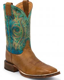 Justin Bent Rail Tan Mottle Cowboy Boots - Square Toe