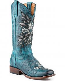 Roper Cross Embroidered Inlay Turquoise Cowgirl Boots - Square Toe