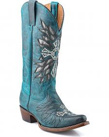 Roper Cross Embroidered Inlay Turquoise Cowgirl Boots - Snip Toe