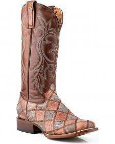 Roper Faux Teju Lizard Patchwork Cowgirl Boots - Square Toe