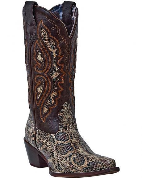 Laredo Andes Snakeskin Print Cowgirl Boots - Snip Toe
