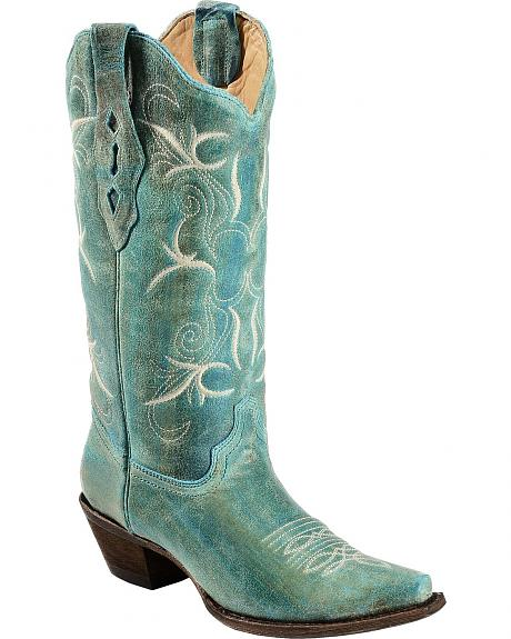 Corral Turquoise Burnished Embroidered Cowgirl Boots - Snip Toe