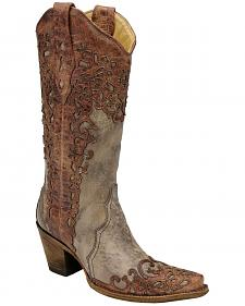 Corral Laser Overlay Cowgirl Boots - Snip Toe
