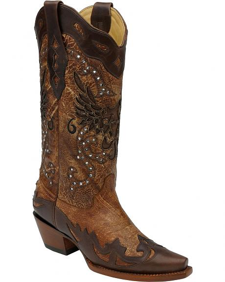 Corral Eagle Inlay & Rhinestone Cowgirl Boots - Snip Toe