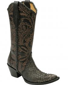 Corral Python Tooled Cowgirl Boots - Pointed Toe