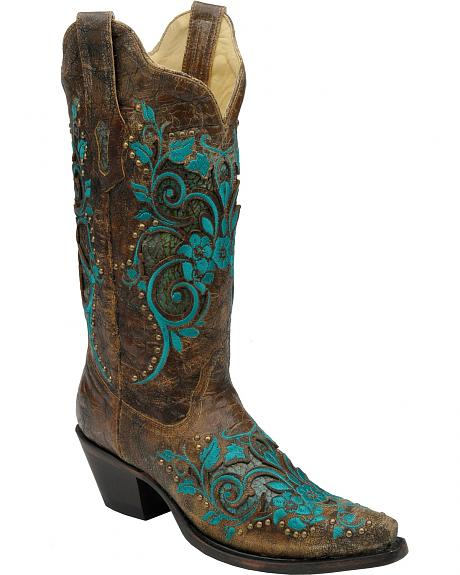 Corral Turquoise Inlay Studded & Embroidered Cowgirl Boots - Snip Toe