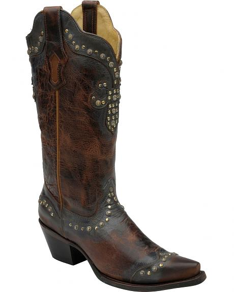 Corral Distressed Studded Fleur-De-Lis Cowgirl Boots - Snip Toe