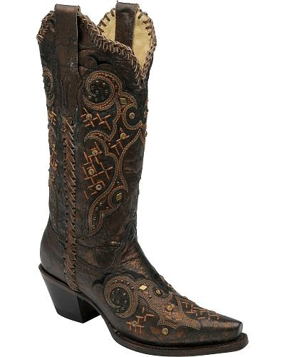 Corral Leather Laced Studded Cowgirl Boots Snip Toe