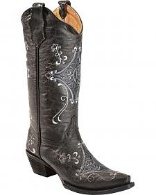 Circle G Crackle Grey & Lavender Embroidered Cowgirl Boots - Snip Toe