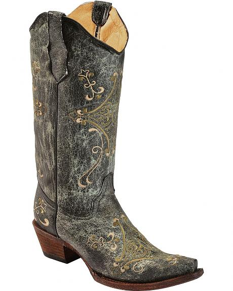 Circle G Crackle Green & Bone Embroidered Cowgirl Boots - Snip Toe