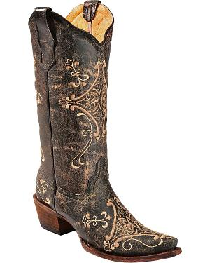 Circle G Crackle Tan Embroidered Cowgirl Boots - Snip Toe