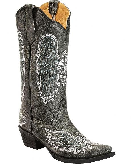 Circle G Crackle Wing & Cross Embroidered Cowgirl Boots - Snip Toe