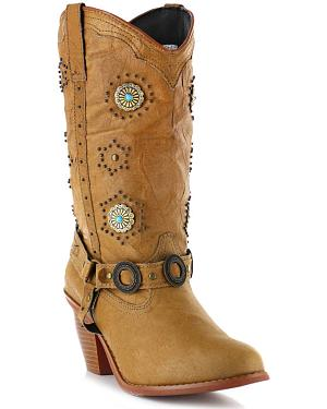 Dingo Addie Retro Concho Harness Boots - Round Toe