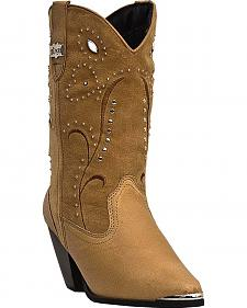 Dingo Ava Suede Studded Shaft Cowgirl Boots - Round Toe