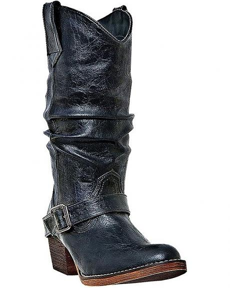 Dingo Pretender Slouch Harness Boots - Round Toe