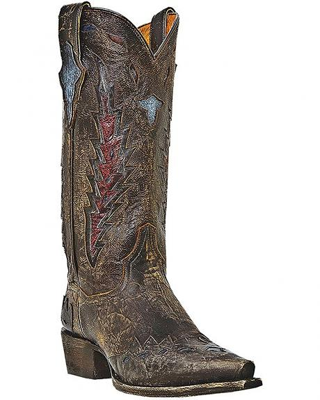 Dan Post Lady Roy Distressed Inlay Cowgirl Boots - Snip Toe