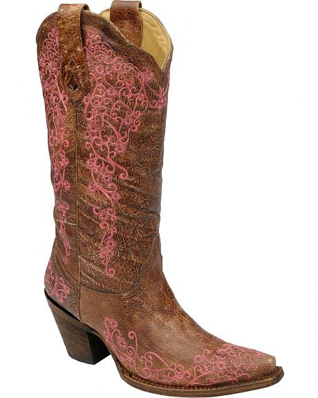 Corral Pink Floral Embroidery Distressed Cowgirl Boots - Snip Toe