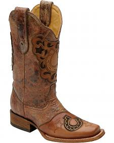 Corral Crystal Horseshoe Inlay Cowgirl Boots - Square Toe