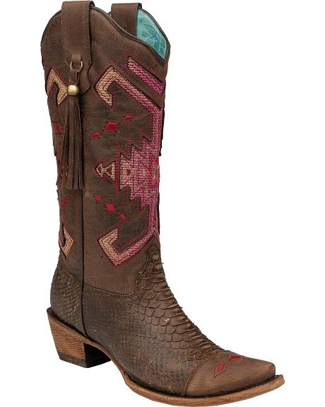 Corral Python Indian Jute Inlay Cowgirl Boots - Snip Toe