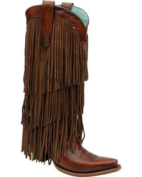 Corral Triple Layer Fringe Cowgirl Boots - Snip Toe