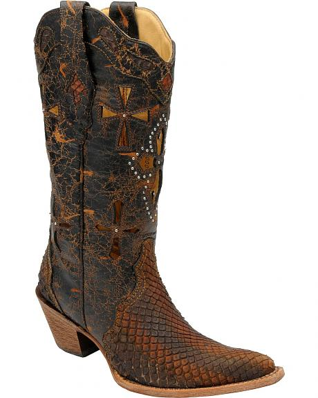 Corral Anaconda Studded Cross Inlay Cowgirl Boots - Pointed Toe