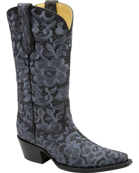 Corral Steel Blue Floral Lace Embroidered Cowgirl Boots - Snip Toe