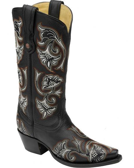 Corral Floral Embroidered Cowgirl Boots - Snip Toe