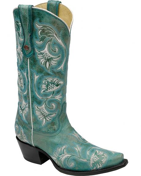 Corral Turquoise Floral Embroidered Cowgirl Boots - Snip Toe